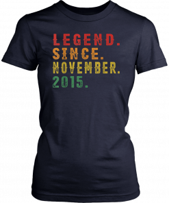 4th Birthday Gifts Vintage Retro Legend Since November 2015 T-Shirt