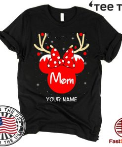 Custom Name Minnie Reindeer Mom Family Christmas Funny T-Shirt