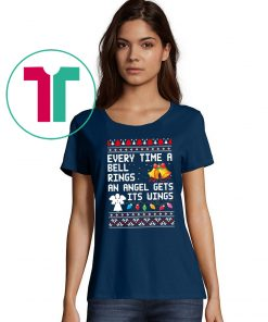 Every time a bell rings an angel gets it's wings Christmas Tee Shirt