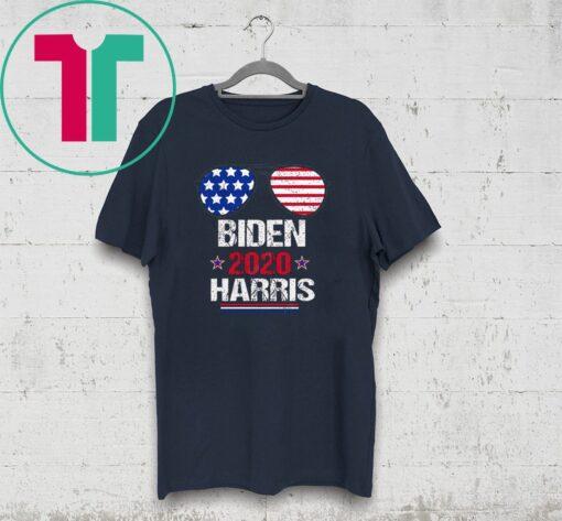 2020 Biden Harris Aviator Sunglasses American Flag T-Shirt