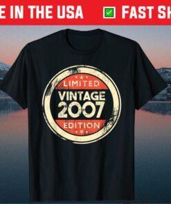 14 Year Old Boys Girls 14th Birthday Vintage 2007 Gift T-Shirt