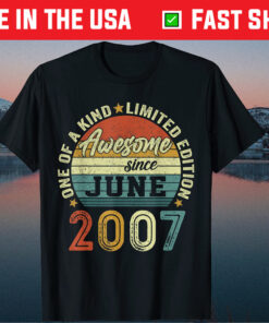 14 Years Old Awesome Birthday Since June 2007 14th Birthday Classic T-Shirt