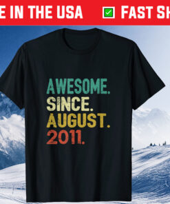 10 Years Old Vintage Awesome Since August 2011 10th Birthday Classic T-Shirt