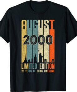 August 2000 21 Birthday 21 Year Old 2000 Birthday Vintage T-Shirt